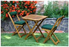image92 Balkonset Kreta aus Akazienholz 3 teilig (mit Auflage grün, Tisch 60x60) für 59,95€
