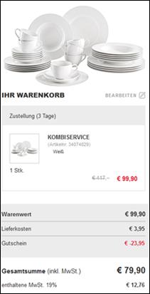 image236 Einige Gutscheine bei xxxlshop.de, so z.B. VILLEROY & BOCH Porzellan Service 30tlg. für 79,90€