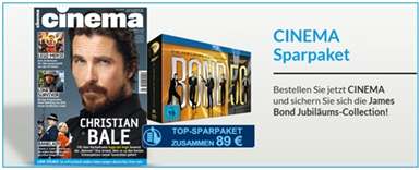 image352 Jahresabo Cinema + James Bond Blu ray Box (22 Filme) für 89€