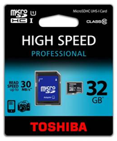 image92 TOSHIBA Speicherkarte (32GB) microSDHC CLASS 10 + Adapter für 12,99€