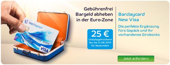 image155 [verlängert] Barclaycard New Visa Kreditkarte: Ein Leben lang beitragsfrei plus 25,  Euro Startguthaben