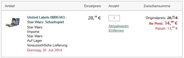 image thumb157 Star Wars Schachspiel von United Labels für 14,99€