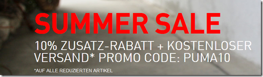 image297 Puma.de: 10% Extra Rabatt auf alle Sale Artikel + keine Versandkosten