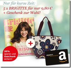 image339 [mit Gewinn] 5 Ausgaben Brigitte + 10€ Amazon Gutschein für 9,80€