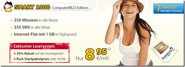 image198 Smart 1000 (250 Minuten, 250 SMS + 1GB Datenflat) für 8,95€/Monat – monatlich kündbar