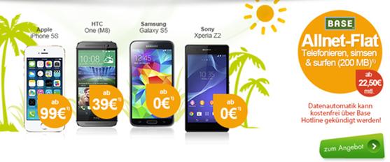 image204 Base Allnet Flat (Flat alle Netze, SMS Flat alle Netze, 200MB Datenflat + Festnetznummer) inkl. z.B. gratis Samsung S5 ab 22,50€/Monat