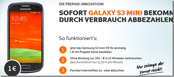 image333 Simyo: Samsung Galaxy S3 Mini Value Edition (Vergleich 139€) + 150€ Guthaben für zusammen 151€