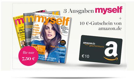 image394 [Schnell] 3 Ausgaben der myself für 7,50€ inkl. gratis 10€ Amazon Gutschein