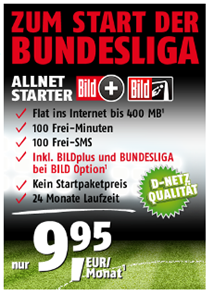 image427 Klarmobil Allnet Starter (100 Freiminuten, 100 SMS + 400MB Daten) inkl. Bild+ und Bundesliga für 9,95€/Monat