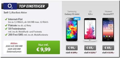 image435 o2 Blue Basic (Flat zu o2, 50 Freiminuten, 200 SMS, 300MB Datenflat) inkl. S5 Mini (einmalig 99€) für 9,99€/Monat