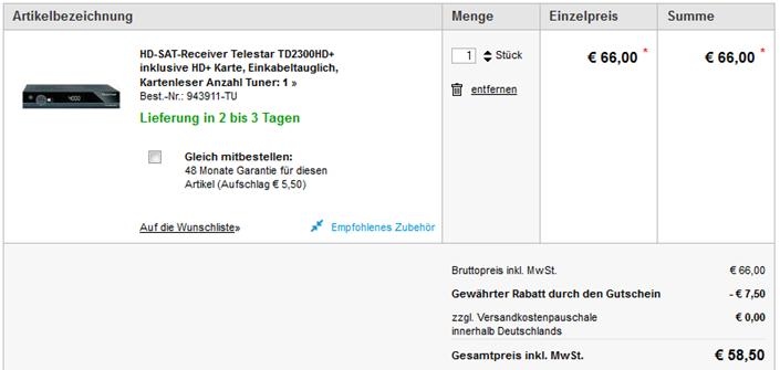 image thumb112 HD SAT Receiver Telestar TD2300HD+ inklusive HD+ Karte (Wert 54,50€) ab 58,50€