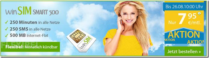 image thumb49 winSIM Smart 500 (250 Minuten, 250 SMS + 500MB Daten) für 7,95€/Monat – monatlich kündbar