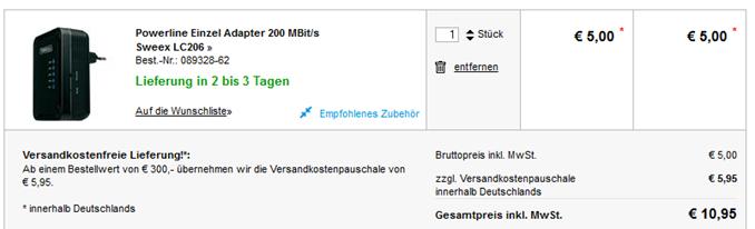 image thumb62 Sweex 3 Port Switch Powerline 200 Adapter (LC206) für 5€ zzgl. Versand