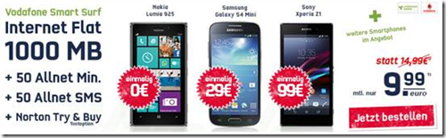 image123 Vodafone (50 Freiminuten, 50 Frei SMS, 1GB Datenflat) inkl. z.B. gratis Nokia Lumia 925 für 9,99€/Monat
