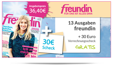 """image30 Halbjahresabo """"Freundin"""" für 6,40€ anstatt 36,40€ dank 30€ Scheck"""