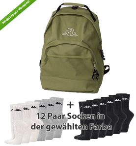 image92 Kappa Rucksack / Retrosporttasche mit 12 Paar Socken für 19,99€