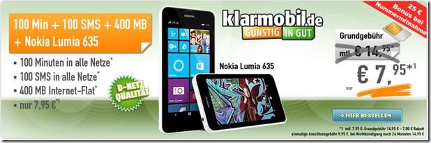 clip image001 Vodafone Klarmobil (100 Freiminuten, 100 Frei SMS + 400MB Daten) inkl. gratis Nokia Lumia 635 für 7,95€/Monat