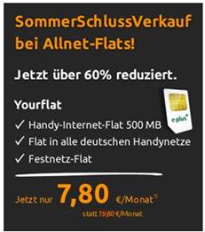 image111 ePlus Allnet Flat (Flat alle Mobilfunknetze inkl. Festnetz + 500MB Datenflat) für 7,80€/Monat