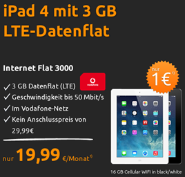 image353 iPad 4 (16GB + Cellular) inkl. 3GB LTE Datenflat für 19,99€/Monat