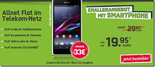 image360 Telekom Allnet Flat (Flat alle Netze, SMS Flat alle Netze, 200MB Daten) inkl. z.B. Sony Xperia Z1 Compact für 19,95€/Monat