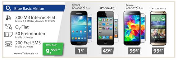image398 o2 Blue Basic (Flat o2, 50 Freiminuten, 200 Frei SMS, 300 MB Datenflat) inkl. z.B. gratis Samsung S4 Mini für 9,99€/Monat