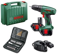 image406 [Super] Bosch PSR 12 Akkubohrschrauber + 2 Akku + 51 teilig Zubehörset für 69,90€