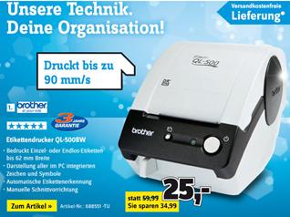 image440 Brother P Touch QL 500 BW Etikettendrucker für 25€