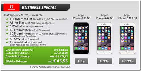 image511 Business: Vodafone (3GB LTE Flat, SMS Flat, Sprachflat, Datenflat Ausland, 60 Minuten im Ausland usw.) inkl. iPhone 6 (einmalig 1€) für 45,55€/Monat