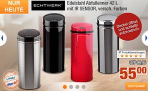 image64 Echtwerk Edelstahl Abfalleimer mit Sensor (42 L) für 55€