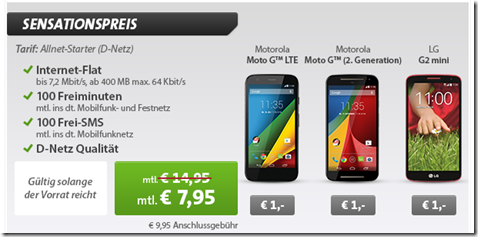 image thumb111 Vodafone Klarmobil (100 Freiminuten, 100 Frei SMS + 400MB Daten) inkl. z.B.Motorola Moto G2 für 7,95€/Monat