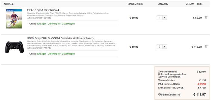 image thumb126 2 x PS4 Dualshock Controller + Fifa 15 für 111,97€