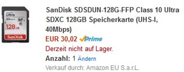 image thumb80 Preisfehler: SanDisk Class 10 Ultra SDXC 128GB Speicherkarte für 30,02€