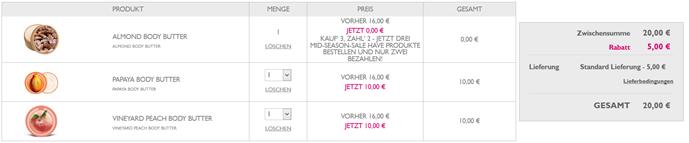 image thumb83 The Body Shop: bis zu 50% Rabatt im Sale + 3 für 2 Aktion auf Sale Artikel + 5€ Neukunden Rabatt