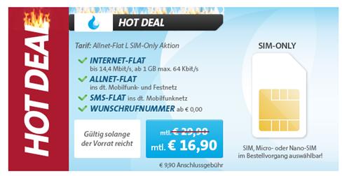image Telekom Netz: 1GB Datenflat, SMS Flat in alle Netze + Sprachflat in alle Netze für 16,90€/Monat