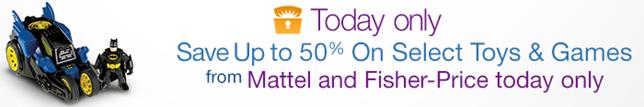 image Amazon.com: bis zu 50% Rabatt auf Mattel und Fisher Price Artikel