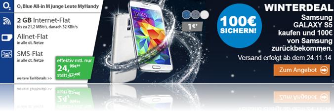 image o2 Blue M (2GB LTE Flat, Sprach + SMS Flat inkl. Festnetznummer) inkl. gratis Samsung S5 für rechnerisch 20,83€