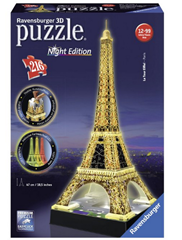 image Ravensburger 12579   Eiffelturm bei Nacht   216 Teile 3D Puzzle für 19,99€