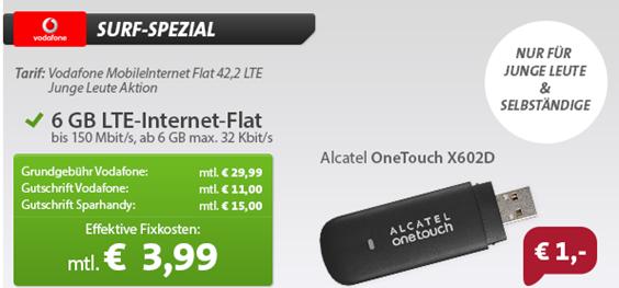 image [für junge Leute] 6GB Vodafone LTE Datenflat (225Mbit) inkl. Surfstick für rechnerisch 3,99€/Monat