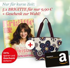 image thumb [mit Gewinn] 5 Ausgaben Brigitte + 10€ Amazon Gutschein für 9,90€