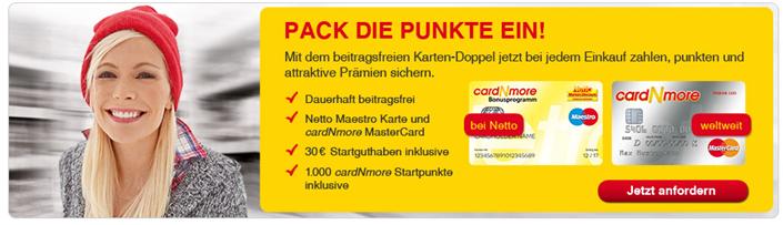 image cardNmore – Dauerhaft beitragsfreie Kreditkarte von Netto nun mit 30€ Startguthaben