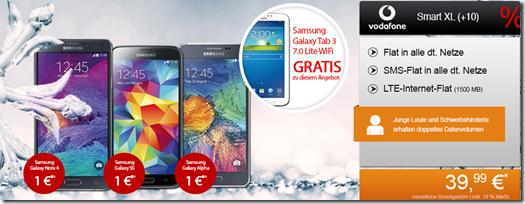 image Vodafone Smart XL (Allnet Flat, SMS Flat und 1,5GB LTE Datenflat) inkl. z.B. gratis Samsung S5 + gratis Tab für 39,99€/Monat