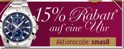 image Karstadt: nur heute 15% Rabatt auf Uhren