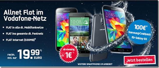 image Vodafone (Flat alle Netze + 500MB Datenflat) inkl. z.B. HTC One E8 für 1€ oder Samsung S5 (19€) für 19,99€/Monat