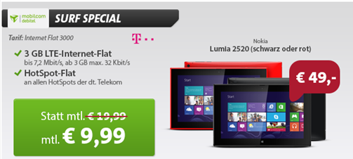 image Telekom 3GB LTE Flat inkl. Nokia Lumia 2520 (einmalig 49€) für 9,99€/Monat