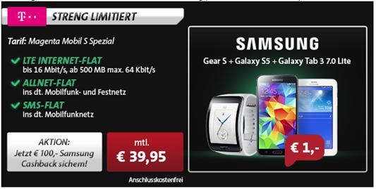 image Samsung Mega Bundle (S5, Tab + Uhr) inkl. Telekom LTE Tarif (500MB, Sprach  und SMS Flat alle Netze) für 35,83€/Monat