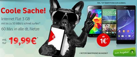 image 3GB Vodafone Datenflat inkl. 60 Freiminuten + z.B. Samsung S5 Mini (einmalig 1€) für 19,99€/Monat