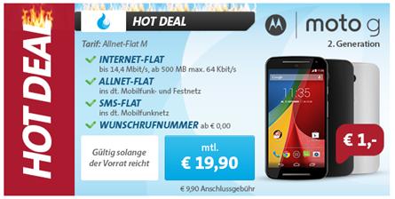 image Allnet Flat, SMS Flat und 500MB Datenflat inkl. Motorola Moto G2 im Telekom Ntz für 19,90€/Monat