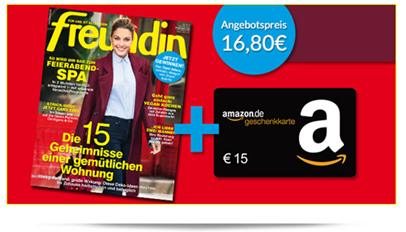 image 6 Ausgaben Freundin inkl. 15€ Amazon Gutschein für 16,80€