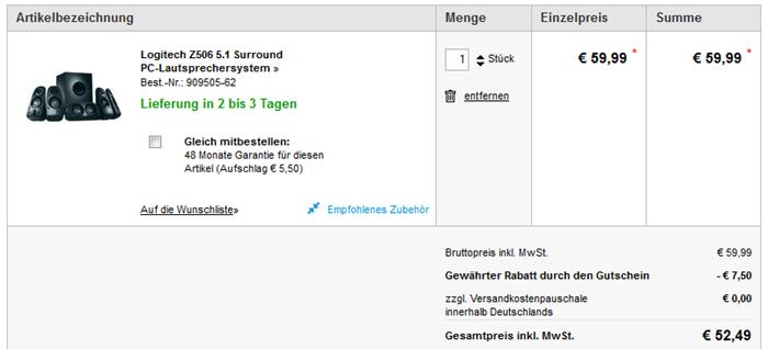 image thumb Logitech Z506 5.1 Surround PC Lautsprechersystem ab 52,49€