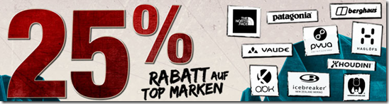 image Bergfreunde Cyberweek   25% auf 10 Top Marken (z.B: The North Face)